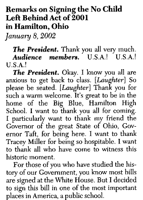 Pres. Bush's remarks on signing the law.