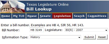 An image showing the interface of the Bill Lookup portion of the Texas Legislature Online webpage