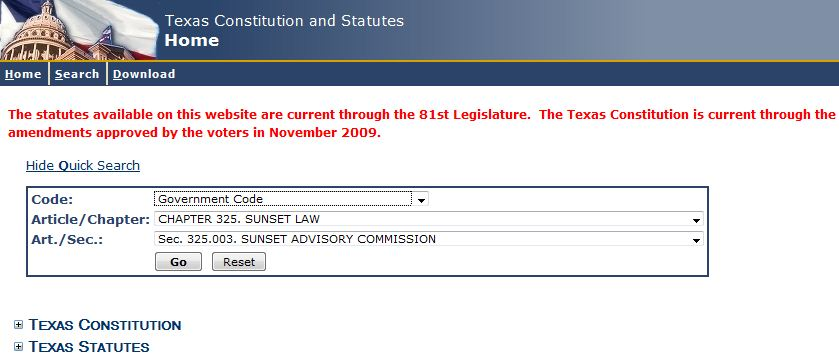Image of Texas Online Statutes Provided by Texas Legislature Online, Navigation example