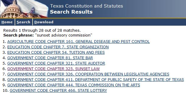 Sample image of search results from Texas Legislature Online search