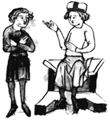 Illustration of two men from Sachsenspiegel title page